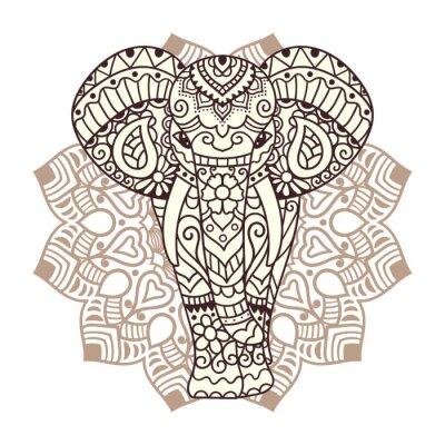 Sticker Dekorative Elefanten Abbildung