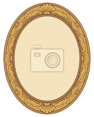 Sticker Dekorative oval Vintage-Rahmen