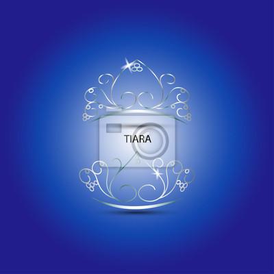 Dekorative Tiara Schöne glänzende in blauem Hintergrund, Vektor-Illustration.