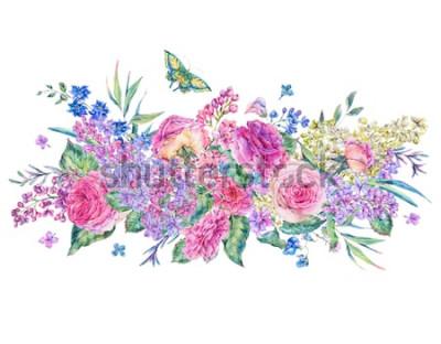 Sticker Dekorative Weinleseaquarellgrußkarte mit rosa Rosen und Flieder, Blumen, Blatt und Knospen, botanische Blumenillustration lokalisiert auf weißem Hintergrund
