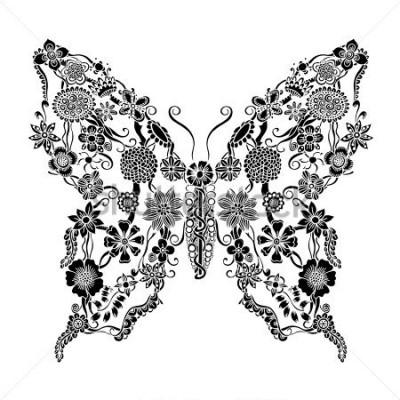 Sticker Dekorativer aufwändiger Schmetterling des Blumengekritzels, einfarbige Blumenverzierungselemente für Einklebebuch-, Einladungs- oder Grußkartendesign