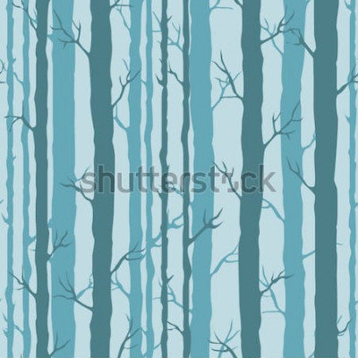 Sticker Dekoratives nahtloses Muster mit Baumstämmen. Endlose Verzierung mit dunklen Türkisstämmen von Bäumen auf blauem Hintergrund. Stilvoller Baumhintergrund für die Verpackung, Tapete.