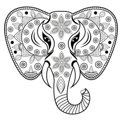 Sticker Dekoriert elefantenkopf vektor, testa di elefante dekorationen vettoriale isolato su sfondo bianco