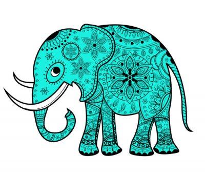 Sticker Dekoriert vektor elefanten, elefante vettoriale decorato