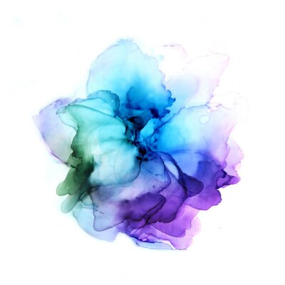Sticker Delicate hand drawn watercolor flower in blue and violet tones. Alcohol ink art. Raster illustration.