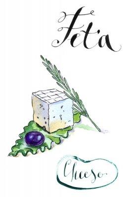 Sticker Delicious geschnittenen griechischen Feta mit Oliven, Rosmarin und Sala