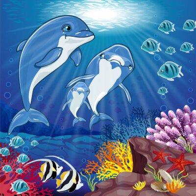 Sticker Delphin auf dem Boden des Meeres