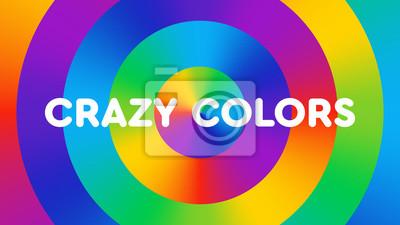 """Der bunte Hintergrund, der aus Regenbogensteigung besteht, kreist mit dem Text """"verrückte Farben"""" ein. Spaß, helle, fröhliche Farbillustration. Farbspektrum Kunst."""