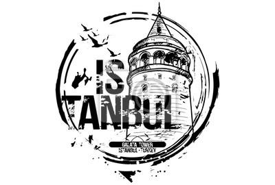 Der Galata-Turm, Istanbul. Türkei Stadt Design. Hand gezeichnete Illustration.