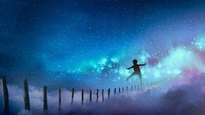 Sticker der Junge, der auf Holz balanciert, haftet gegen die Milchstraße mit vielen Sternen, digitale Kunstart, Illustrationsmalerei