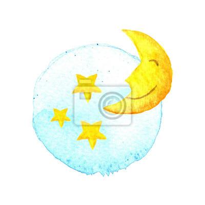 Der Mond und die Sterne auf gemaltes Aquarell. Symbol. Schlaf Träume Symbol. Nacht oder Bett Zeitzeichen. Baby Blue Gelbe Hand- Abbildung Isolierte weißen Hintergrund