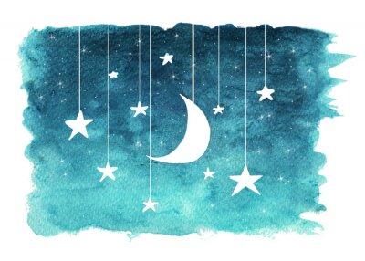 Sticker Der Mond und die Sterne, die von den Schnüren gemalt im Aquarell auf Weiß hängen, lokalisierten Hintergrund, Hintergrund des nächtlichen Himmels