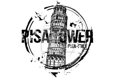 Der schiefe Turm von Pisa. Toscana, Italien Stadt Design. Hand gezeichnete Illustration.