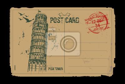 Der schiefe Turm von Pisa. Toskana, Italien Postkarte Design. Hand gezeichnete Illustration.