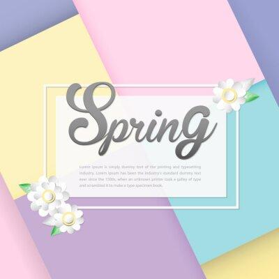Design-Banner mit Feder Logo. Karte für Frühjahrssaison mit weißem Rahmen und Blume auf Pastellhintergrund.