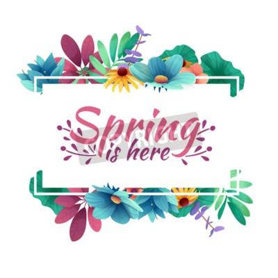 Design Banner mit Frühling ist hier Logo.  Karte für Frühlingssaison mit weißem Rahmen und Kraut.  Werbeangebot mit Frühlingspflanzen-, Blatt- und Blumendekoration.  Vektor