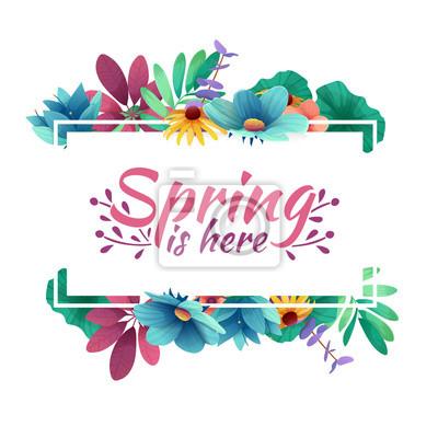 Design Banner mit Frühling ist hier Logo. Karte für Frühlingssaison mit weißem Rahmen und Kraut. Werbeangebot mit Frühlingspflanzen, Blättern und Blumendekoration. Vektor