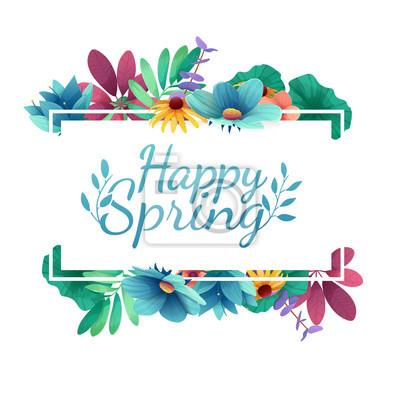 Design Banner mit Happy Spring Logo. Karte für Frühlingssaison mit weißem Rahmen und Kraut. Werbeangebot mit Frühlingspflanzen, Blättern und Blumendekoration. Vektor