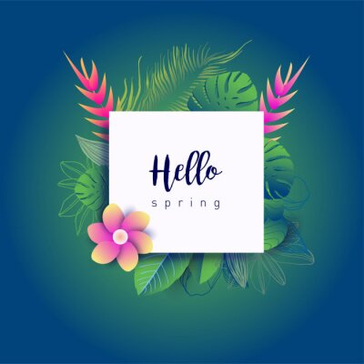 Design banner with lettering design welcome spring. Card for spring season with white green tropical leaves and floral. Promotion offer with spring plants, leaves and flowers decoration. Vector