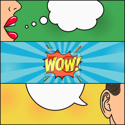 Design Der Comic Seite Dialog Von Madchen Und Mann Mit Sprechblase