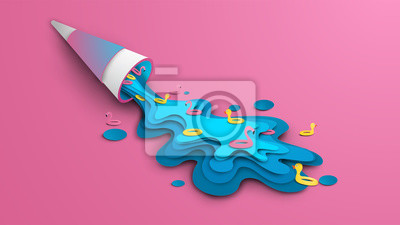 Design ice cream for summer. Blue sea ice cream cone with swim ring topping melts because of hot weather on pink background. Graphic design for Summer. Paper craft and cut style. vector, illustration.
