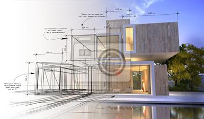 Sticker Design stages of luxury villa