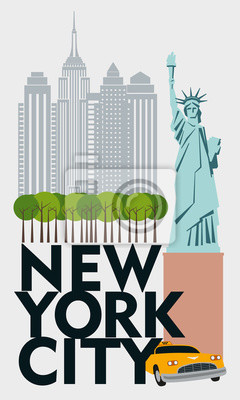 Designer Poster New York. Callage skyscrapers, Central Park, taxi, Statue of Liberty. Vector drawing