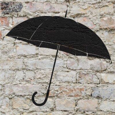 Sticker Dessin d'un parapluie sur un mur