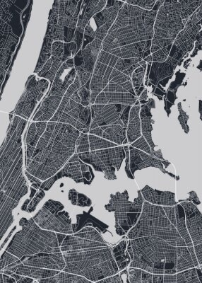 Detailed borough map of The Bronx New York city, monochrome vector poster or postcard city street plan aerial view