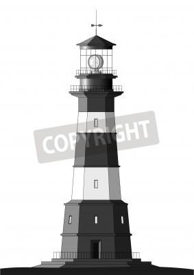 Sticker detaillierte Leuchtturm isolated on white