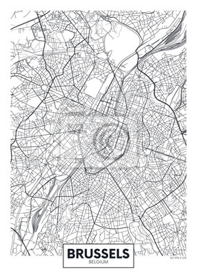 Detaillierte Vektor-Karte Stadtplan Brüssel