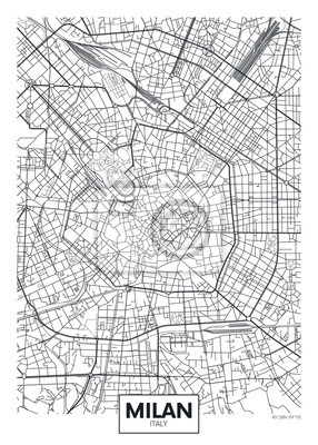 Detaillierte Vektor-Karte Stadtplan Mailand