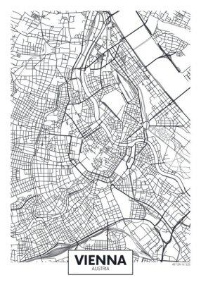 Detaillierte Vektor-Karte Stadtplan Wien