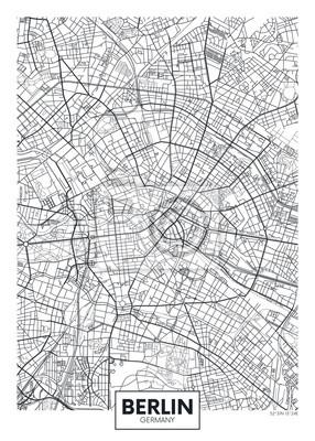 Detaillierte Vektor Poster Stadtplan Berlin
