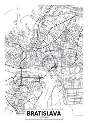 Detaillierte Vektor Poster Stadtplan Bratislava