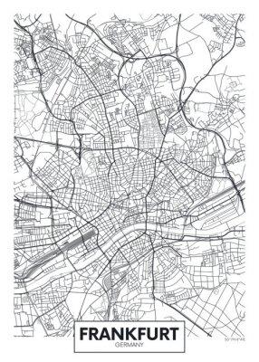 Detaillierte Vektor Poster Stadtplan Frankfurt