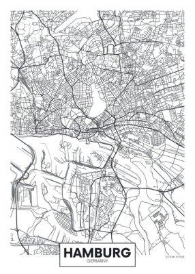 Detaillierte Vektor Poster Stadtplan Hamburg
