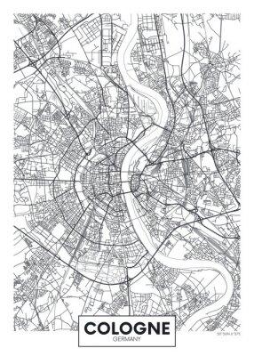 Detaillierte Vektor Poster Stadtplan Köln