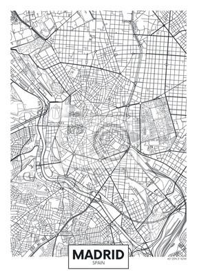Detaillierte Vektor-Poster Stadtplan Madrid