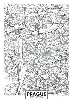 Detaillierte Vektor-Poster Stadtplan Prag