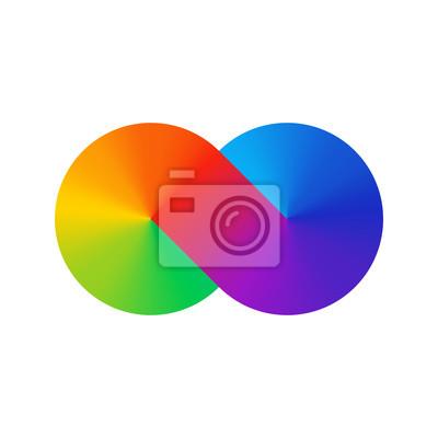 Dickes Linie-Unendlichkeitszeichen-Farbspektrum. Regenbogengradient in Form des Unendlichkeitszeichens. Bunte Steigung mit acht Zeichen. Zwei Kreise verbanden sich.