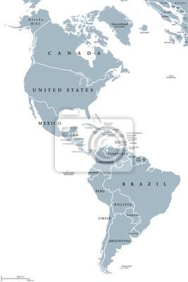 Südamerika Karte Ohne Beschriftung.Sticker Die Amerikanische Politische Karte Mit Ländern Und Grenzen Der
