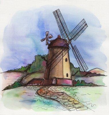 Sticker Die Aquarell handgezeichnete Windmühle in Holland