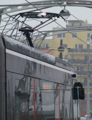 Sticker Die Entladungen an der Straßenbahn auf dem Wagen mit Eis