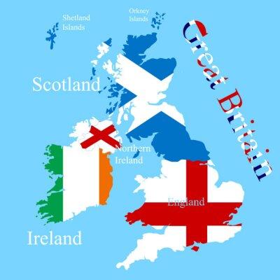 Sticker Die Großbritannien-Karte für jede Landflagge