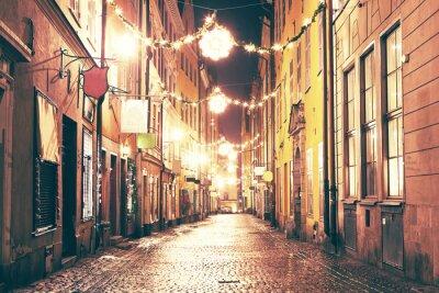 Sticker Die Nacht Straße in Gamla Stan, Stockholm.