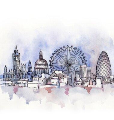 Sticker Die panoramische Ansicht von London-Aquarell des europäischen Gewerkschaftslandes getrennt auf dem weißen Hintergrund