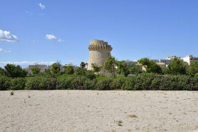 Die Ruinen des alten Verteidigungsturms, Wachturm, an der Mittelmeerküste