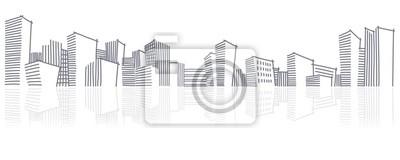Die Skizze einer Skyline der Stadt