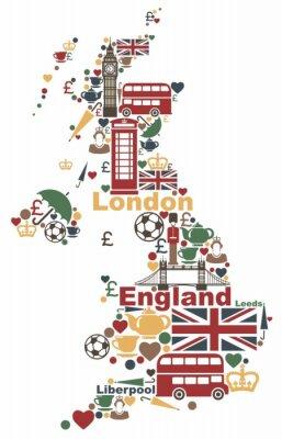 Die Symbole des Vereinigten Königreichs in Form einer Karte